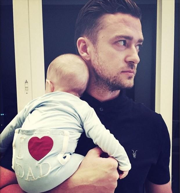 Justin Timberlake com o filho, Silas Randall (Foto: Reprodução/Instagram)
