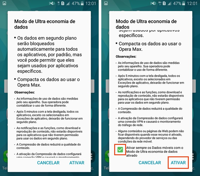 Permita que os dados móveis sejam ligados automaticamente sempre que a economia for ativada  (Foto: Reprodução/Aline Batista)