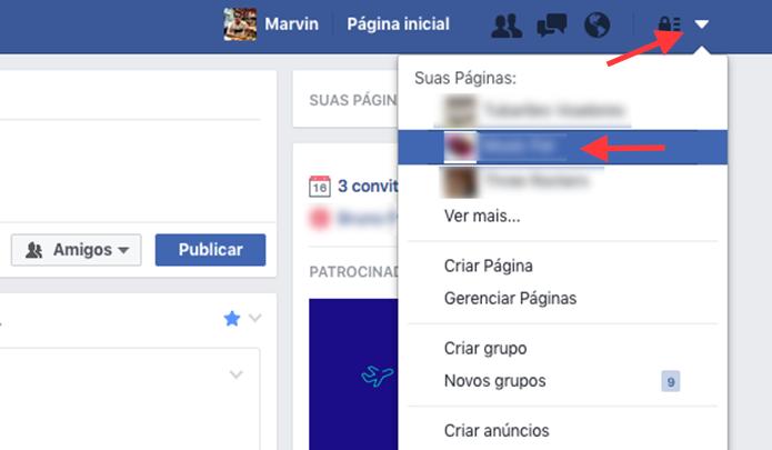 Opção para acessar uma página como administrador no Facebook (Foto: Reprodução/Marvin Costa)
