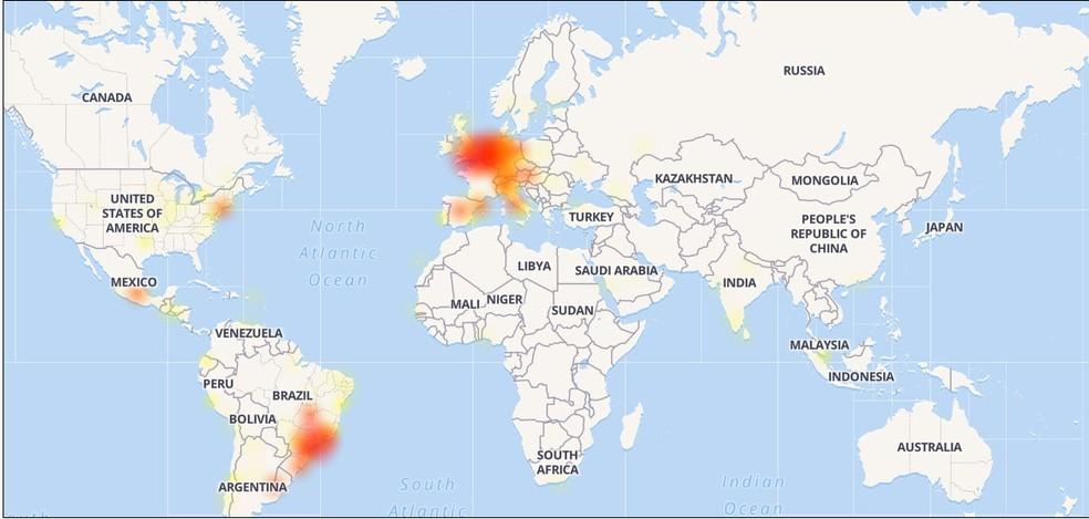 Mapa mostra origem das reclamações sobre funcionamento do WhatsApp (Foto: Reprodução/Down Detector)