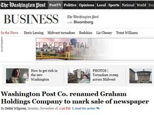 Dona do 'Washington Post' muda nome para Graham Holdings (Foto: Reprodução)