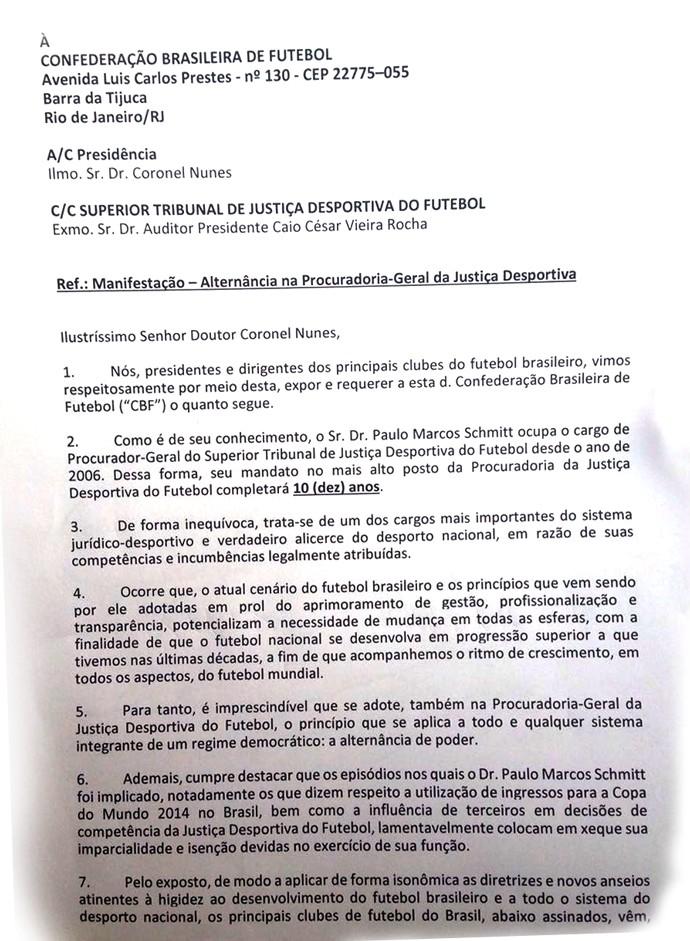 carta dos clubes contra paulo schmitt, do stjd (Foto: Reprodução)
