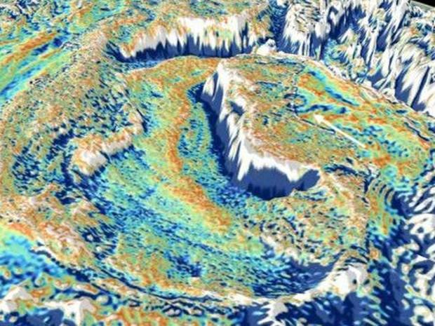 No modelo que exacerba as anomalias da gravidade no Goilfo do México, a seta branca indica a área da cratera de Chicxulub (Foto: D Sandwell Scripps)