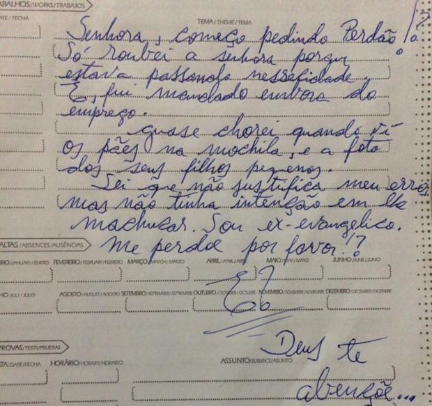 Bilhete escrito e deixado pelo ladrão (Foto: Eva da Silva Alves/Arquivo Pessoal)