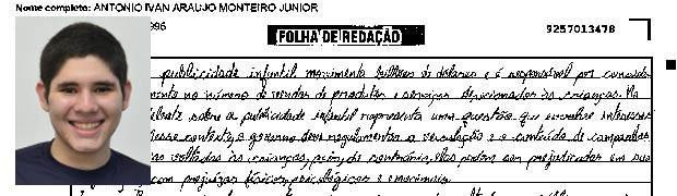 Trecho de redação de Antônio Ivan Araújo (Foto: Reprodução/Divulgação)