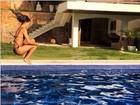 Isis Valverde dá salto em piscina