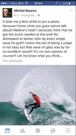 Bourez também deu sua opinião sobre a polêmica onda de Medina (Foto: Reprodução/Instagram)