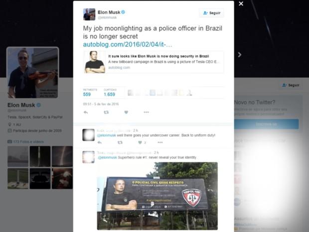 Bilionário Elon Musk faz 'piada' após ser fardado como policial civil em outdoor em MS (Foto: Reprodução/Twitter)