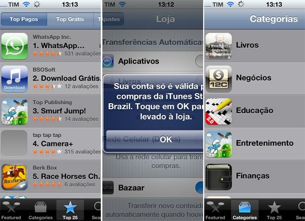 Imagens da App Store da Apple, em português (Foto: Reprodução)
