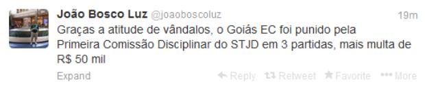 Tweet de João Bosco Luz, presidente do Goiás (Foto: Reprodução/Twitter)