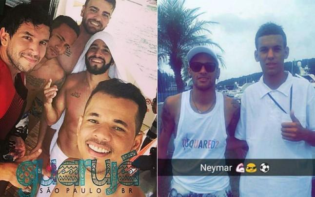 Neymar com os amigos em Santos