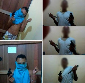 Em outra sequência de fotos, dois rapazes empunham um revólver e um punhal (Foto: Divulgação/Polícia Civil do RN)