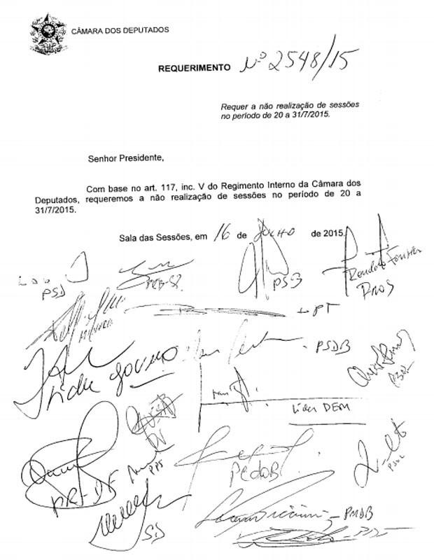 Requerimento em que líderes partidários pedem que não sejam convocadas sessões da Câmara entre os dia 20 e 31 (Foto: Reprodução)