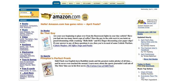 A página inicial da Amazon voltou no tempo: está igual ao antigo site, de 1999 (Foto: Reprodução/Paulo Figueiredo)