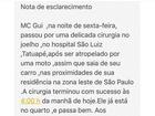 MC Gui passa bem após cirurgia e já está no quarto, diz assessoria