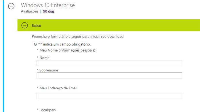 Formulário permite escolher versão do Windows que será baixada (Foto: Reprodução/Microsoft)