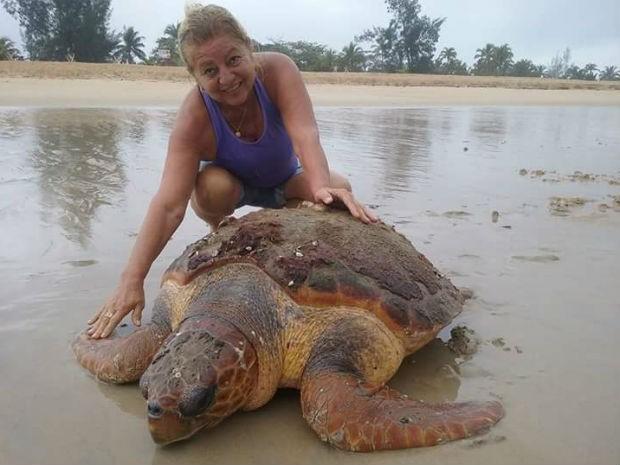 Tartaruga de 120 kg foi encontrada por moradora em praia de Nova Viçosa (Foto: Lusemira Bezerra/Arquivo pessoal)
