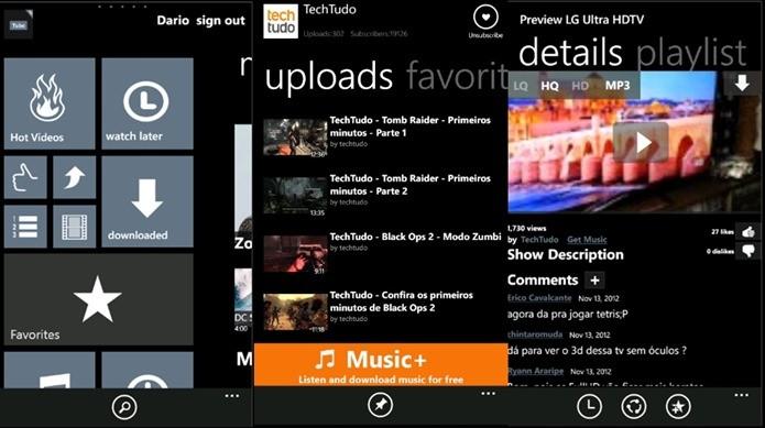 App Tube HD é o melhor cliente do Youtube para Windows Phone (Foto: Reprodução  / Dario Coutinho)
