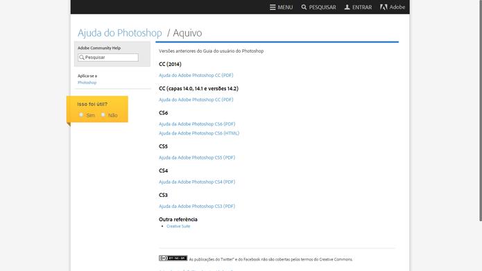 Tutoriais do Photoshop estão separados por versão (Foto: Reprodução/Adobe)