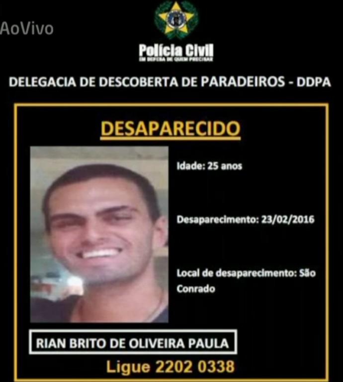 'Vídeo Show' exibe cartaz com foto de Rian Brito (Foto: Vídeo Show / TV Globo)