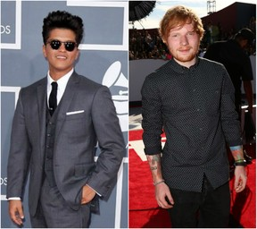 Bruno Mars e Ed Sheeran (Foto: Reuters / AFP)