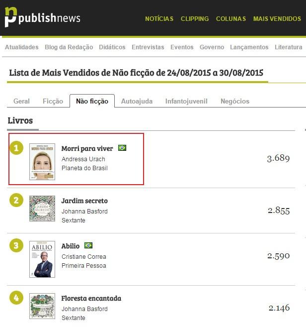 Livro de Andressa Urach na lista dos mais vendidos (Foto: Reprodução)