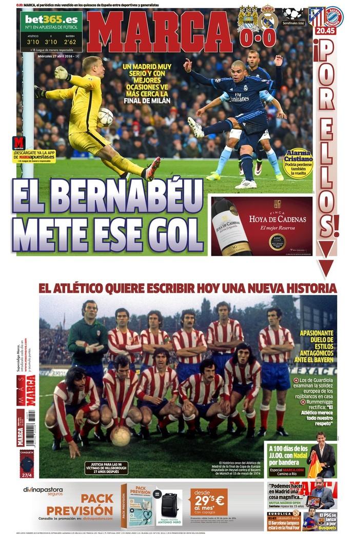 """Capa do jornal """"Marca"""" do dia 26/04 (Foto: Reprodução/ Twitter)"""