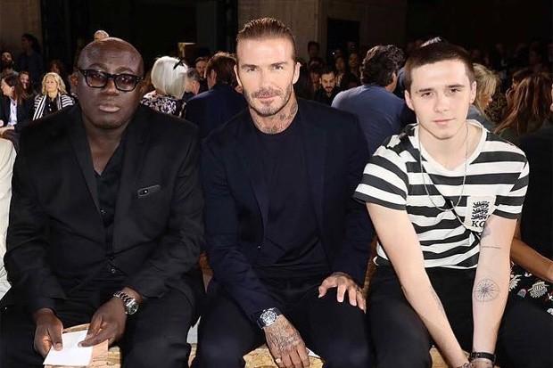 Edward Enninful, David Beckham e Brooklyn Beckham (Foto: Reprodução/Instagram)