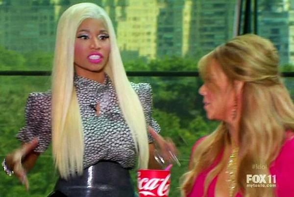 Mariah Carey e Nicki Minaj em cena de 'American Idol' (Foto: Reprodução)
