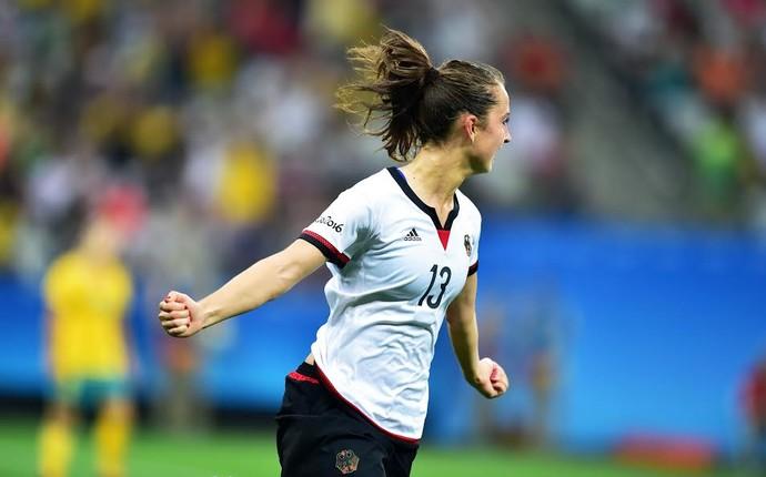 Daebritz vibra com golaço marcado - Alemanha x Austrália (Foto: Marcos Ribolli)