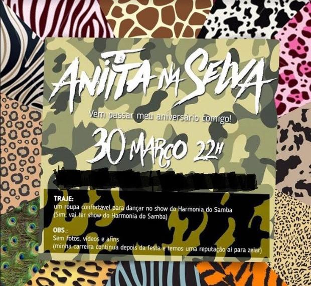 Convite da festa de Anitta (Foto: Divulgação)