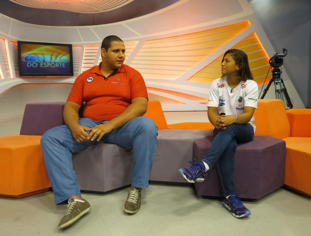 Rafael Silva e Sarah Menezes na gravação do Corujão do Esporte (Foto: Daniel Cardoso (Globoesporte.com))