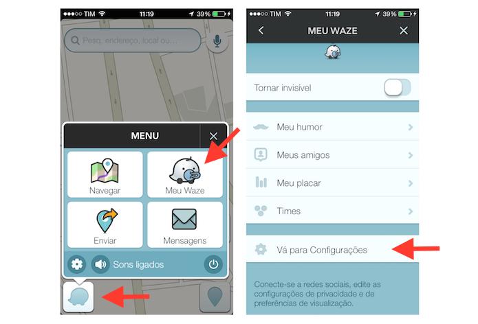Acessando as configurações do Waze para a configuração que evita pedágios e vias expressas em um trajeto (Foto: Reprodução/Marvin Costa)