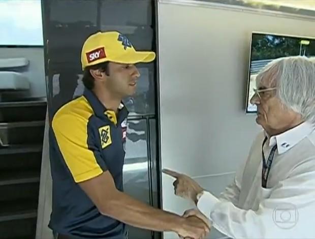 Felipe Nasr e Bernie Ecclestone na Hungria (Foto: Reprodução/TV Globo)