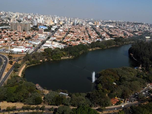 Vista aérea da Lagoa do Taquaral, em Campinas (Foto: Luiz Granzotto / Prefeitura de Campinas)
