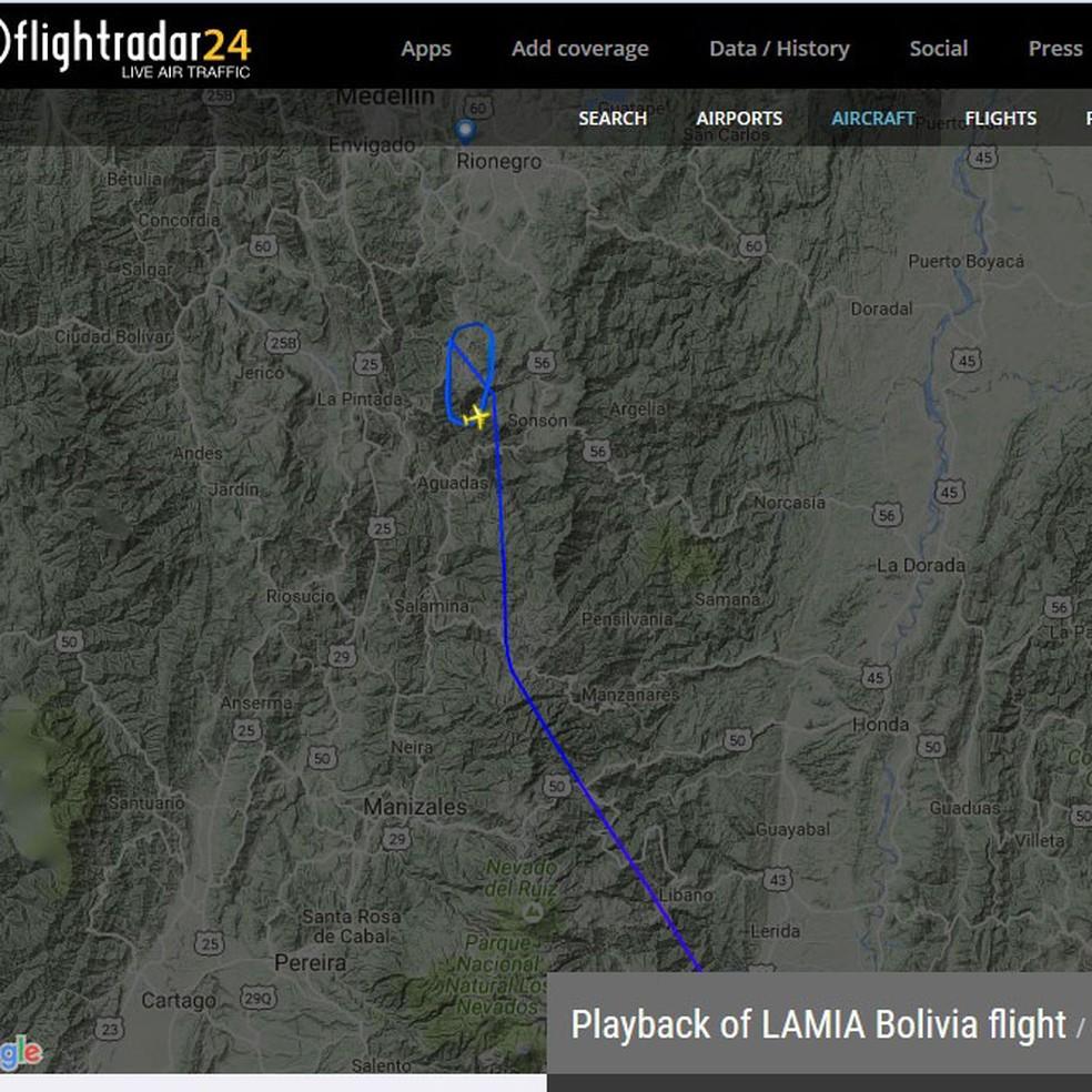 Site Flight Radar mostra rota do avião que caiu com time do Chapecoense (Foto: Reprodução)