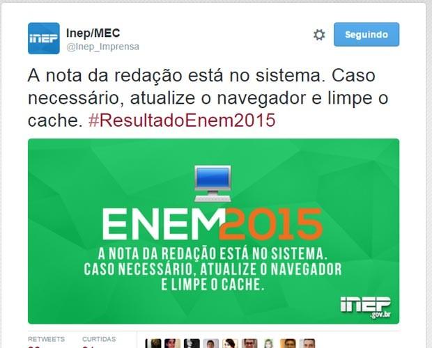 """Nota do Enem 2015: Inep diz que participante precisa """"limpar cache"""" para ver a nota da redação. (Foto: Reprodução/Twitter)"""