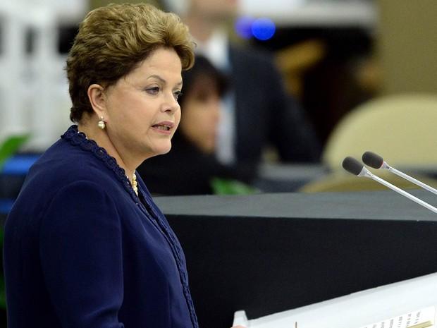 Dilma Rousseff faz discurso de abertura da 68ª Assembleia Geral da ONU e critica práticas de espionagem dos EUA (Foto: Stan Honda/AFP)