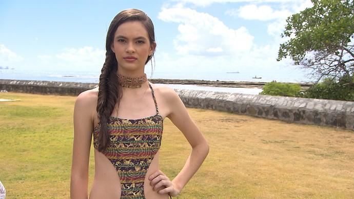 Maiô 'engana mamãe' é tendência na moda praia (Foto: TV Bahia)