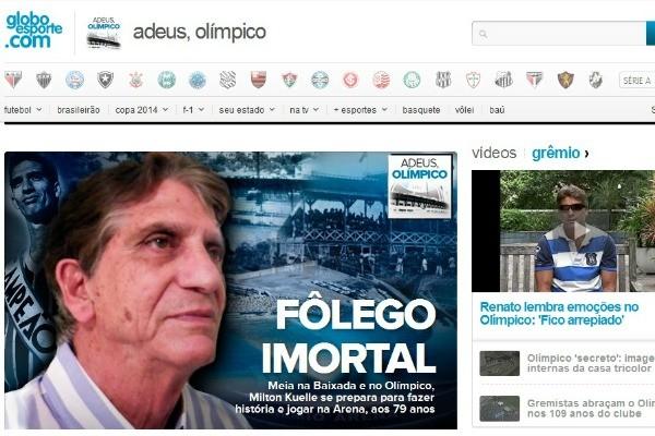 Página especial relembra melhores momentos do Estádio Olímpico (Foto: Reprodução/ globoesporte.com)