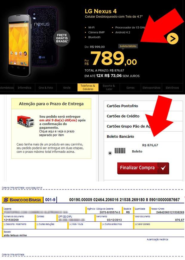 Consumidor reclama de promoção da 'Black Friday': preço de smartphone Nexus 4 aumentou quase R$ 100 após conclusão de pedido (Foto: Arquivo pessoal/Aldo Tetsuo Miike)