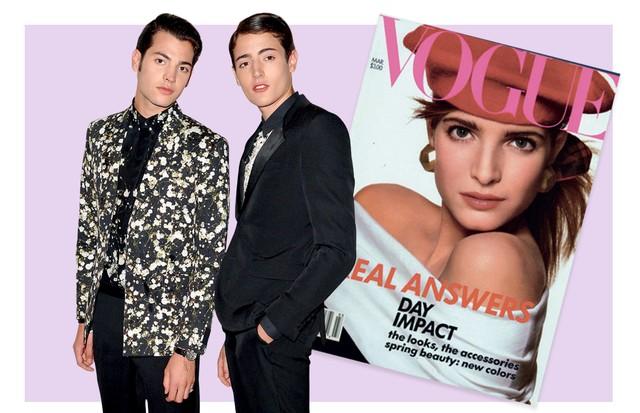À esquerda Harry e Peter. À direita, a mãe Stephanie em capa da Vogue americana de 1998 (Foto: Gettyimages, Reprodução Instagram e Divulgação)
