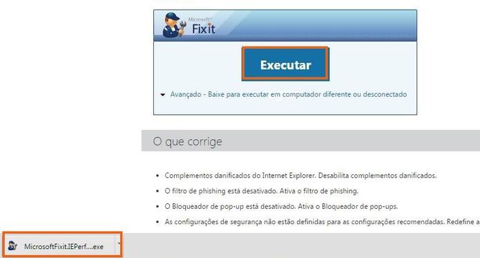 Execute e baixe a ferramenta Fix it da Microsoft (Foto: Reprodução/Barbara Mannara)