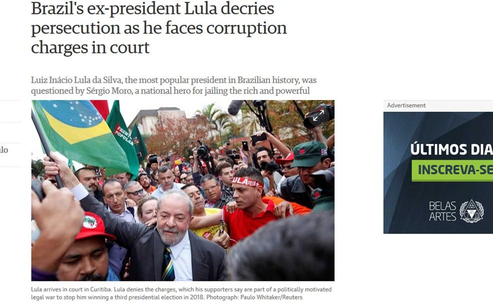 """""""The Guardian"""" relatou que o encontro reuniu o presidente mais popular da história brasileira, referindo-se a Lula, e o herói nacional que prende ricos e poderosos, referindo-se a Moro (Foto: Reprodução / The Guardian)"""