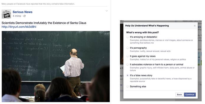 Publicações com conteúdo falso no Facebook podem ser reportadas como notícia falsa (Foto: Reprodução/Newsroom)