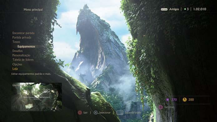Selecione Equipamentos no menu de Uncharted 4 (Foto: Reprodução/Murilo Molina)