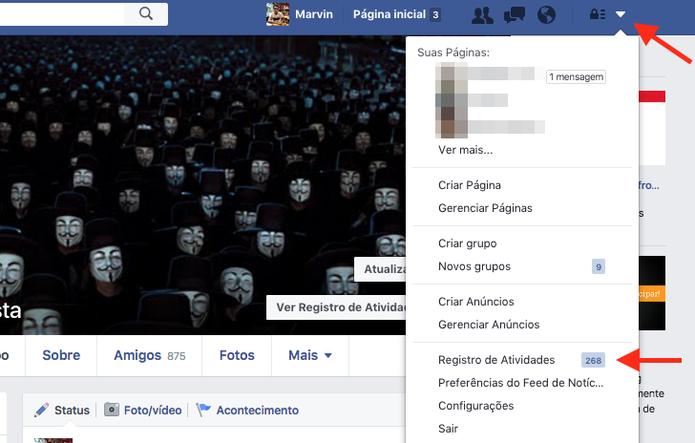 Acesso ao registro de atividades do Facebook (Foto: Reprodução/Marvin Costa)