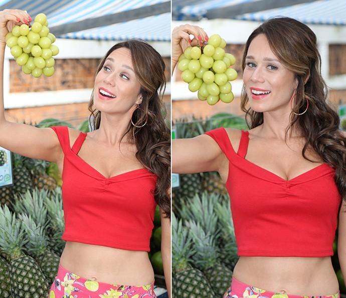 Diva! Mariana brinca com frutas e exibe cinturinha fina que empresta para personagem de sua 13ª novela na Globoa de Mariana na TV Globo (Foto: Carol Caminha/Gshow)