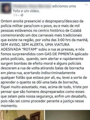 Ferido postou mensagem em rede social sobre o caso (Foto: Reprodução/ Facebook)