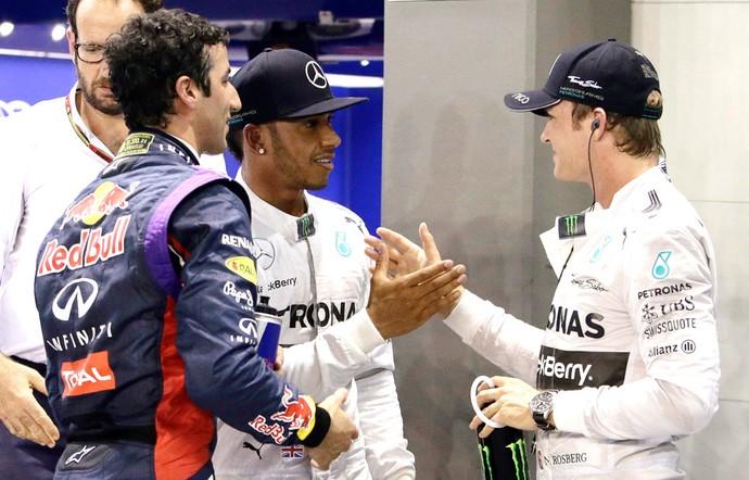Daniel Ricciardo, Hamilton e Rosberg, Cingapura Formula 1 (Foto: Agência Reuters)